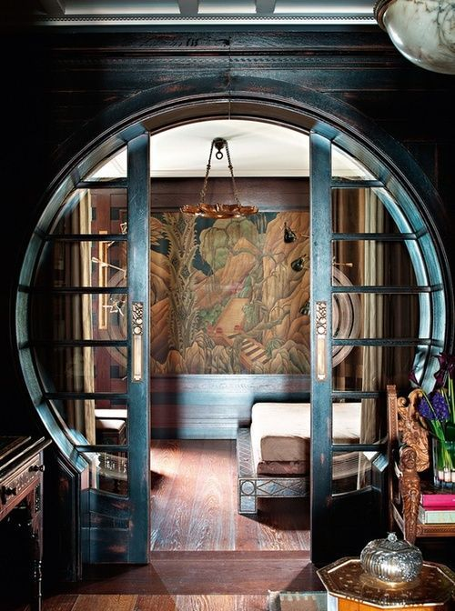 """Art Deco interior """"moon gate"""". Reminds me of lord of the rings."""