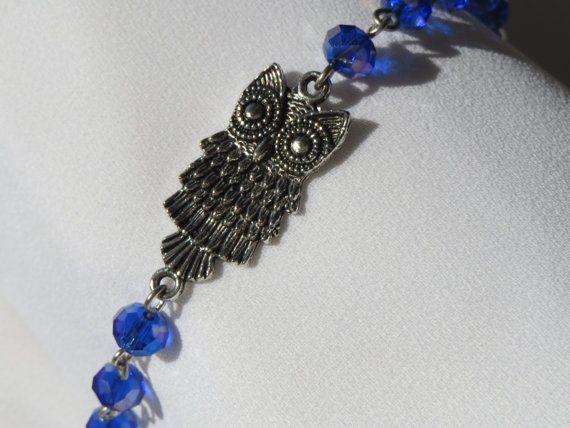 Owl Charm Bracelet  Blue Purple Silver  Sparkling  by Thielen, $16.49