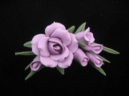 Lavender Rose Cold Porcelain Pin | RosePetals - Jewelry on ArtFire