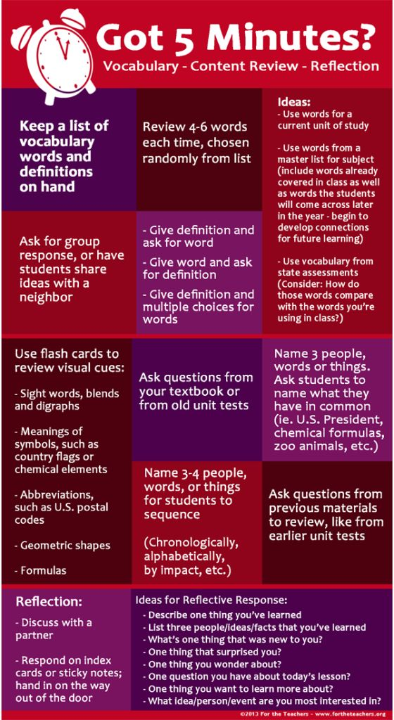 Here's an infographic with some great ideas for how to  spend those 5 minutes that you may have free at the beginning or end of a lesson.