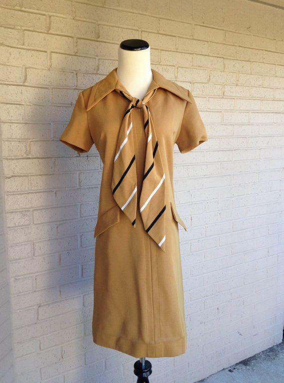 Vintage 1960's Tan Brown Secretary Mod Mad Men Dress with