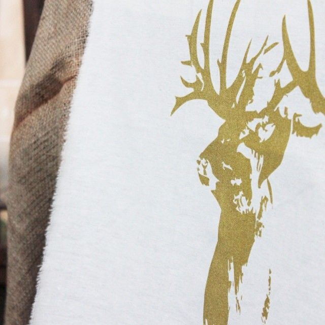 """Everyone loves a golden stag print, so here is one printed on calico fabric to share on this lovely windy Thursday :) #deer #gold #lovegold #silkscreen #prints #events #melbourne #illustration #art #creative #inspiration"""