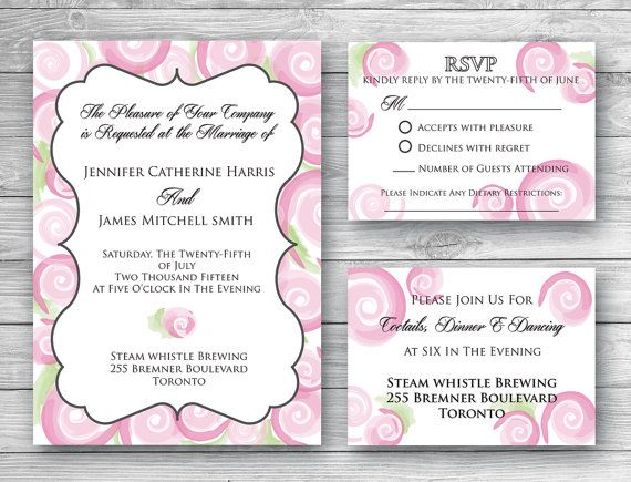 Mia Wedding Invitation Set  Digital Download by WeddingGlitzPrints