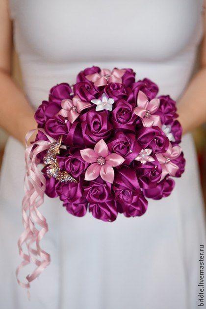 Лиловый брошь-букет невесты. Handmade.