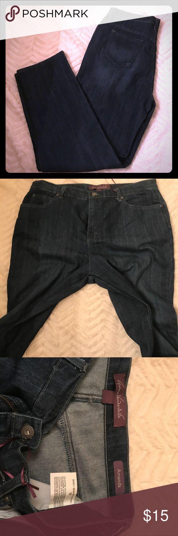 Gloria Vanderbilt Amanda Jeans Med/Dark wash 18 Gloria Vanderbilt Amanda jeans size 18 medium dark wash. Worn a few times. Great condition. Enjoy! Gloria Vanderbilt Jeans