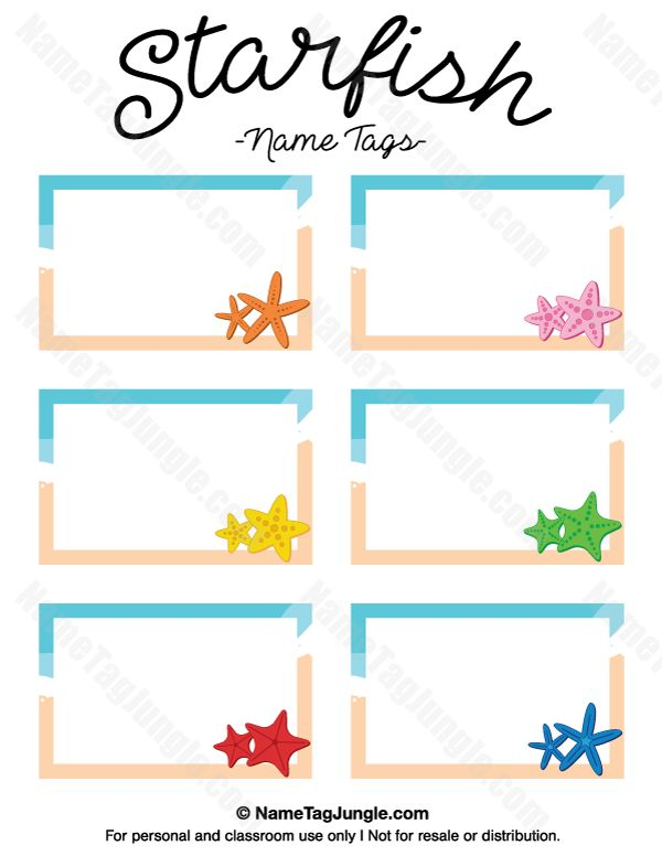 Free printable starfish name tags. The template can also be used for creating items like labels and place cards. Download the PDF at http://nametagjungle.com/name-tag/starfish/