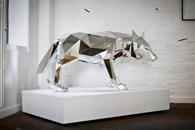 Geometric animal sculptures made out of mirrors. By Arran Gregory.