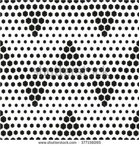 Vector seamless pattern - geometric modern hexagon polygon black and white background