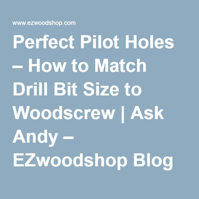 how to choose right size drill bit for pilot