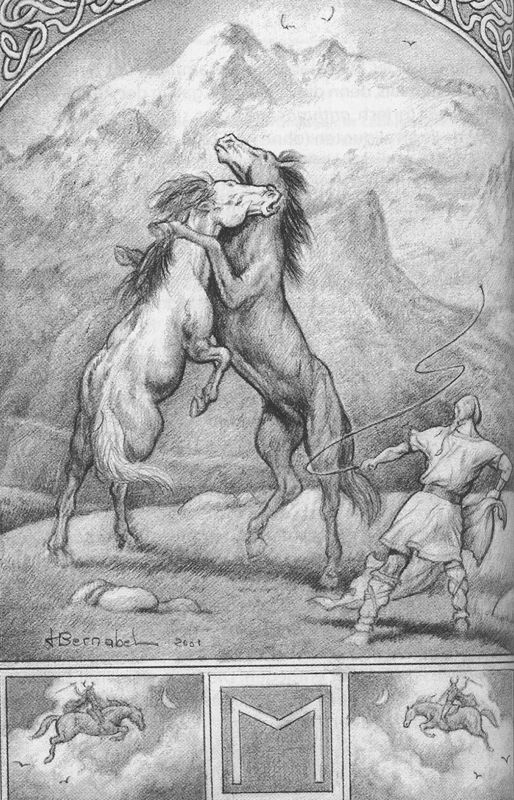 """EHWAZ """"лошадь"""";Символизм лошади, , имеет двойной смысл: Теллурическая и солнечная, и небесный подземный. Черный конь появляется в качестве Крещения подземных сил: . в связи с миром мертвых будут помнить, что крепления Валькирия Völuspá определяет """"умело езды"""", шаманский Odirio конь имеет восемь ног и позволяет Богу общаться со всеми мирами.Лошадь часто сопровождал своего хозяина на путешествие в загробный мир.так же божественная функция: защита здоровья и плодородия,"""