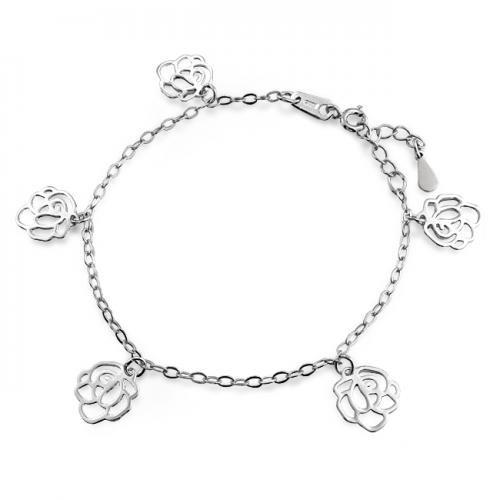 Filigree 925 Sterling Silver Rose Flower Charm Bracelet 7.5in