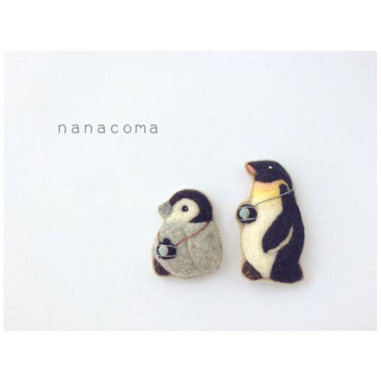 羊毛ペンギンのブローチ