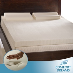 @Overstock - Whether you are a queen or a king, this soft memory foam mattress topper set from Comfort Dreams is sure to help you finally get the royal night's sleep you deserve. It features a thick topper and two contour pillows that mold to your unique shape.http://www.overstock.com/Bedding-Bath/Comfort-Dreams-4-inch-Queen-King-size-Memory-Foam-Mattress-Topper-Contour-Pillow-Set/1862343/product.html?CID=214117 $149.99