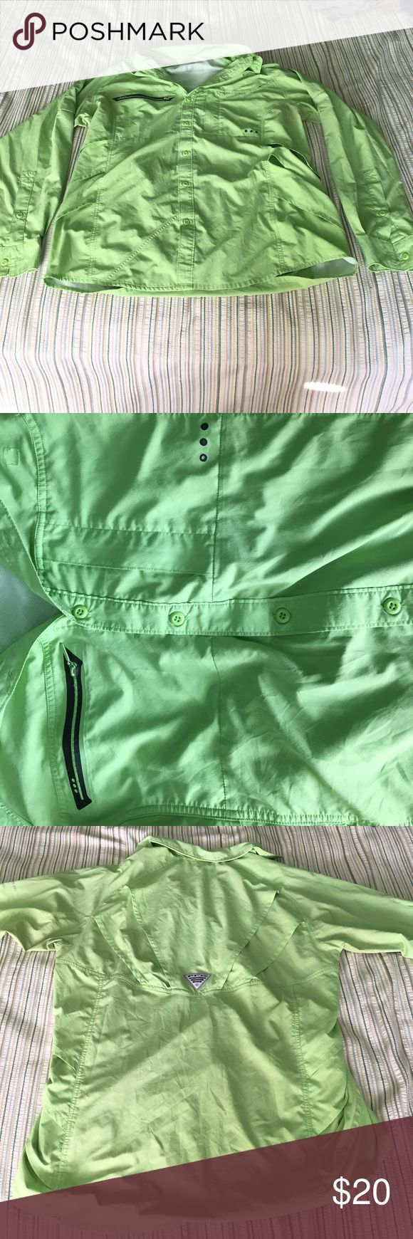 COLUMBIA PFG SHIRT Name:Columbia PFG fishing shirt Condition:7/10 Size:Large Color:Bright Green •• I WILL ACCEPT OFFERS IF THEY ARE REASONABLE(MOST ITEMS ARE NEGOTIABLE) •• Other:For Some Reason its missing all the washing tags and brand name except for the breathing holes where it says PFG Columbia Shirts Casual Button Down Shirts
