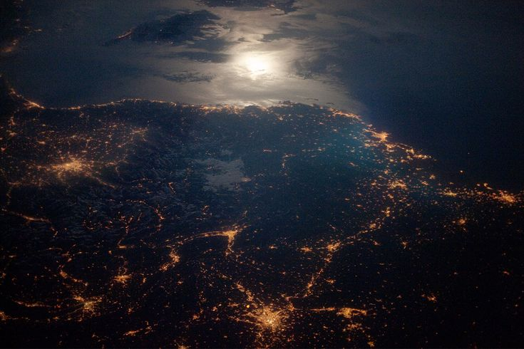 https://flic.kr/p/89zbeu   France   City Lights at Night along the France-Italy Border The brightly lit metropolitan areas of Torino (Italy), Lyon, and Marseille (both in France) stand out amidst numerous smaller urban areas in this dramatic astronaut photograph. The image captures the nighttime appearance of the France-Italy border. The southwestern end of the Alps Mountains separates the two countries. The island of Corsica is visible in the Ligurian Sea to the south (image top).  The…