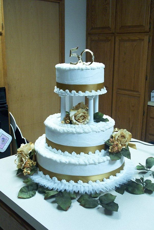50th Anniversary Cake With Gold Satin Ribbon And Gold Silk