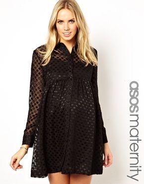 Image 1 ofASOS Maternity Shirt Dress In Burnout Spot