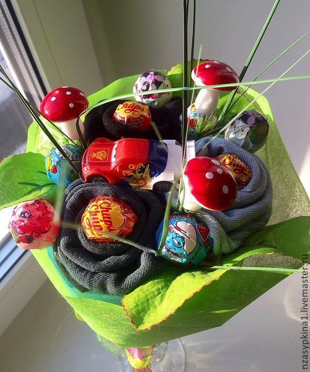 """Купить Мини-букет из носков """"Детский"""" - подарок мальчику, подарок девочке, необычный подарок"""