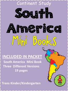 Included in this unit:Mini South America Books with three versions:   Mini Book with text and colored pictures   Mini Book with traceable text and pictures to color   Mini Book with blank text lines and pictures to color