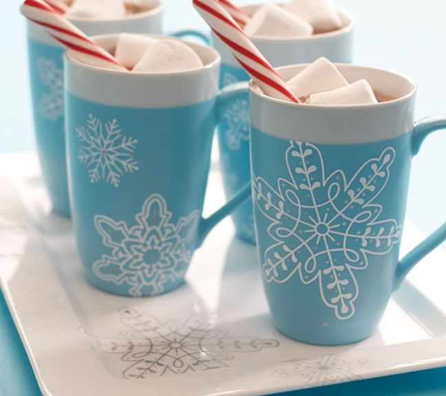 Snowflake mugs with paint from marthastewartcrafts for Martha stewart glass paint instructions