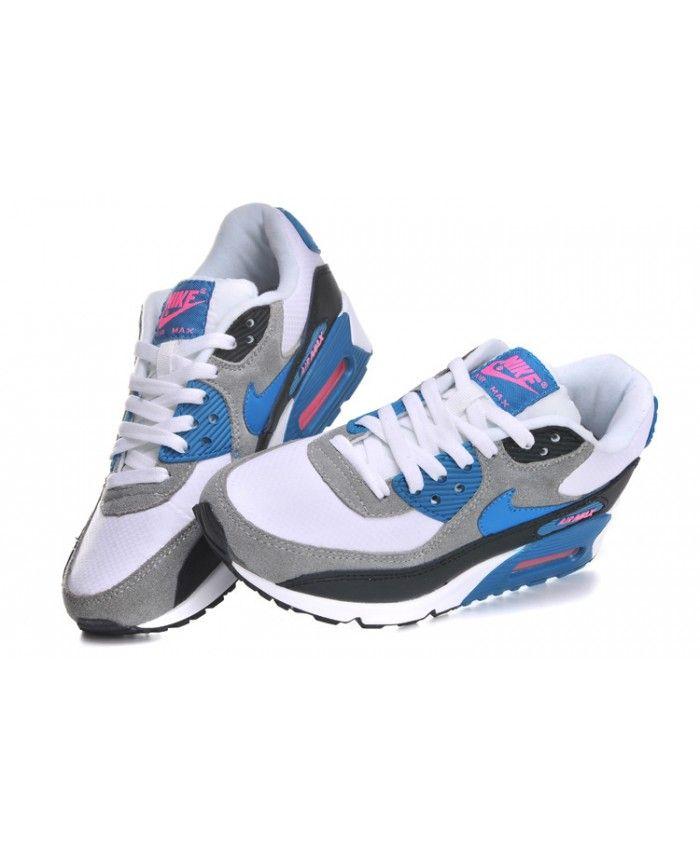 Discount Nike Air Max 90 Men Black Blue White Shoes 1319