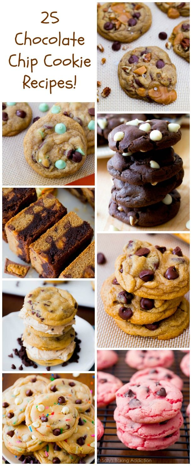 25 varieties of chocolate chip cookies - from salted caramel and mint chocolate to cake batter, strawberry, pumpkin, and red velvet. All my favorites!