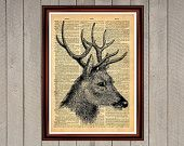 Deer animal nature antlers print Rustic decor Cabin Vintage Retro poster Dictionary page Home interior Wall 0001