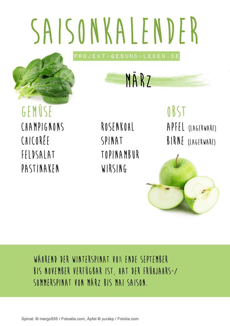 Saisonkalender März - Den praktischen PDF-Download findest du auf dem Blog! | Projekt: Gesund leben | Clean Eating, Fitness & Entspannung