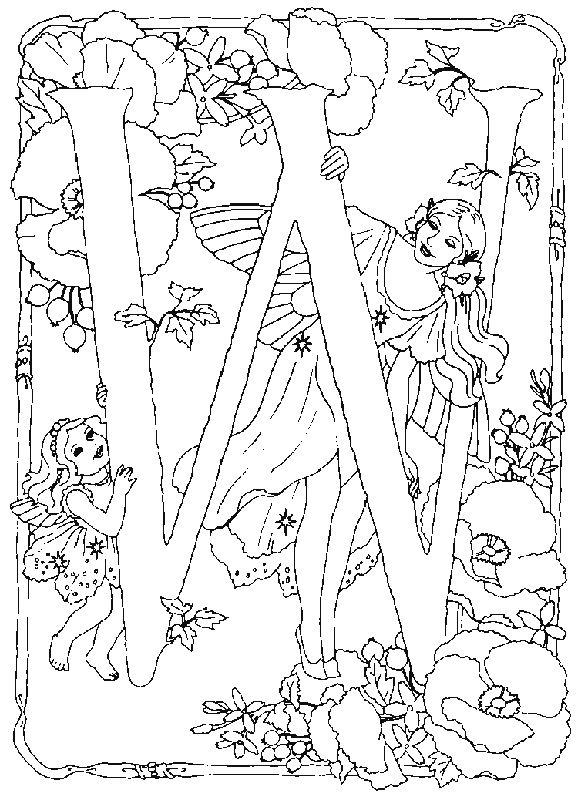 Alphabet Fairy W Coloring Pages In this page you can find