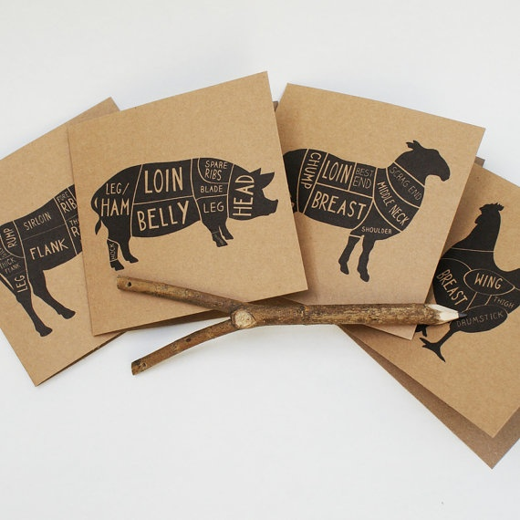 135x135 cm Butchers diagram cards  Set of 4 by OldEnglishCo, £10.00