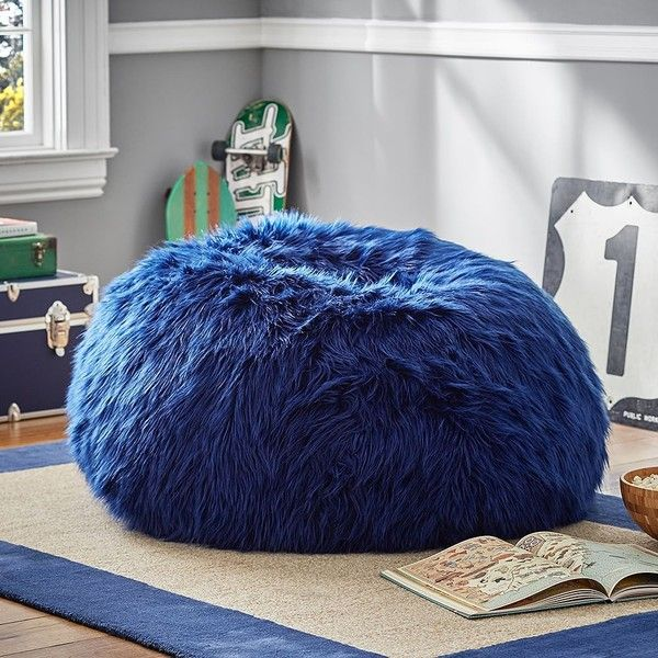 PB Teen Navy Fur-Rific Beanbag, Small Slipcover + Insert featuring polyvore, home, furniture, chairs, accent chairs, circular chair, round bean bag, navy accent chair, fur bean bag chair and navy bean bag