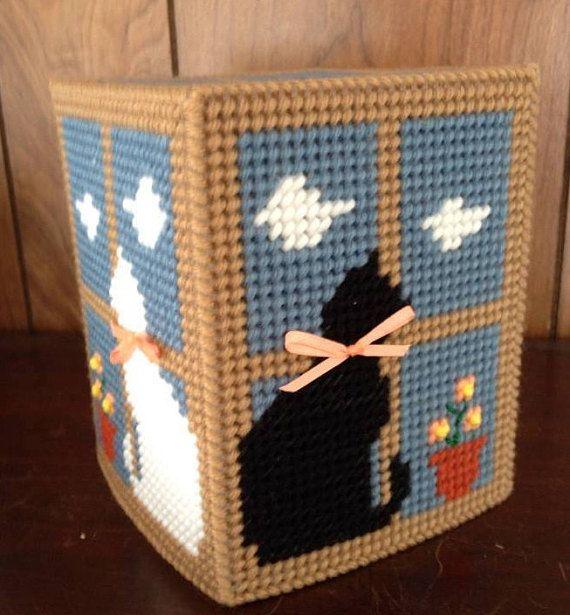 CATS On WINDOWSILL Tissue Box Cover Needlepoint Tissue Holder