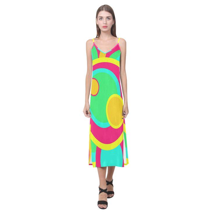 Vivid Circles V-Neck Open Fork Long Dress(Model D18)