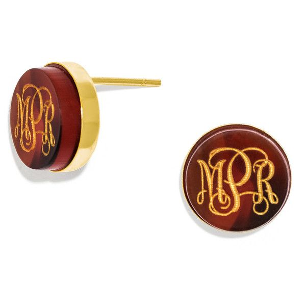 BaubleBar Monogram Acrylic Studs ($32) ❤ liked on Polyvore featuring jewelry, earrings, monogram earrings, lucite earrings, acrylic monogram earrings, acrylic jewelry and monogram stud earrings