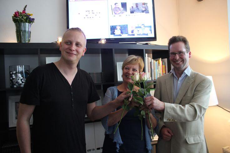 Tom Hagelberg, Anja Kulovesi ja Simo Kaksonen uutta työtä luomassa. Elokuu 2015