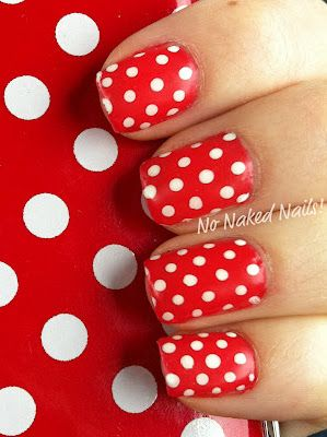 Red and white polka dots........this would look cute on the toes