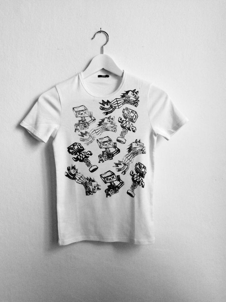 T-shirt linocut robot
