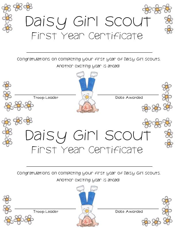 daisy first year certificate