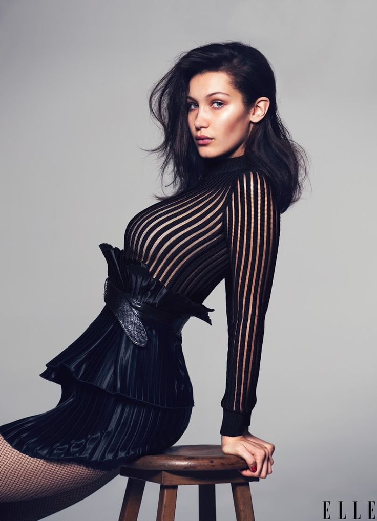 Bella Hadid poses for the May 2015 issue of ELLE. Photo: David Bellemere.