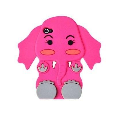 truffol.com | PINK Cute 3D Cartoon Elephant Silicone iPhone 4/4S/5 Back Case Skin Cover