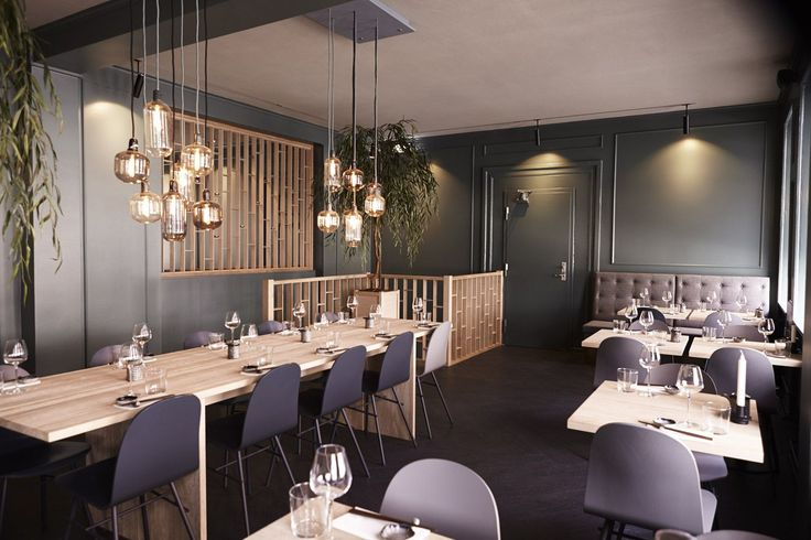 Amp lamps in modern Japanese restaurant Hatoba in Copenhagen. Photo by Philip Ørneborg