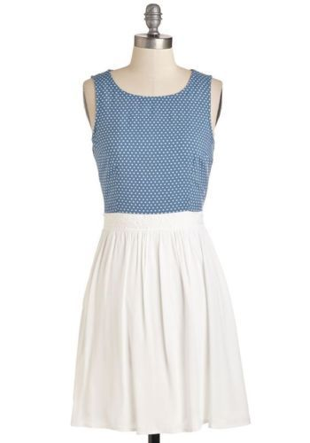Doe-amp-Rae-Modcloth-Fit-and-flare-Blue-and-White-Polka-Dot-Dress-Size-Large-NWT