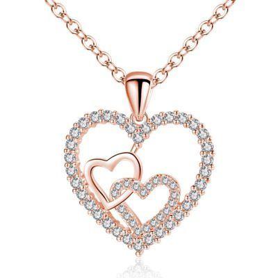 9071c9e1c75f Moda de Mujer Cadena Collar Corazón Plata Oro Flor Cristal Regalo encanto  colgante