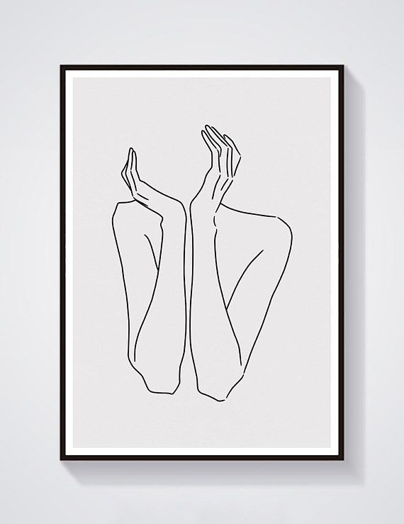 sketch #29 LINE ART PRINT minimalist line art woman body lines Self drawing interior design minimal decor home artwork A4 limited