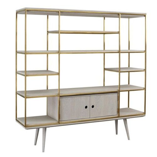 The Carson Wall Unit by Dovetail is part an eclectic range of handmade furniture, accessories and textiles.  Stainless steel frame, gold warm brushed Oak shelves, ripple white wash