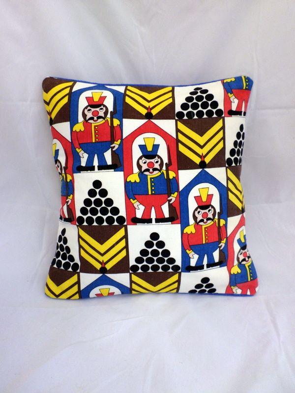 "Vintage handmade moygashel ""On Guard"" cushion - http://whatkatydid.biz/product/baby/vintage-handmade-moygashel-guard-cushion/"