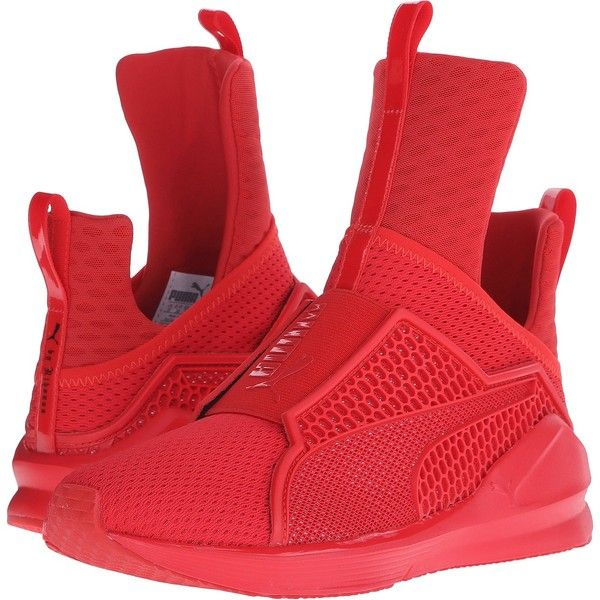 PUMA Fenty Trainer (High Risk Red/High Red) Women's Shoes ($117) ❤ liked on Polyvore featuring shoes, pink, slip on shoes, mesh shoes, red shoes, logo shoes and mesh slip on shoes