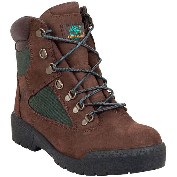 """Timberland Men's 6"""" Field Boot ($170) ❤ liked on Polyvore featuring men's fashion, men's shoes, men's boots, men's work boots, brown, mens brown boots, mens boots, timberland mens boots, mens brown work boots and timberland mens work boots"""