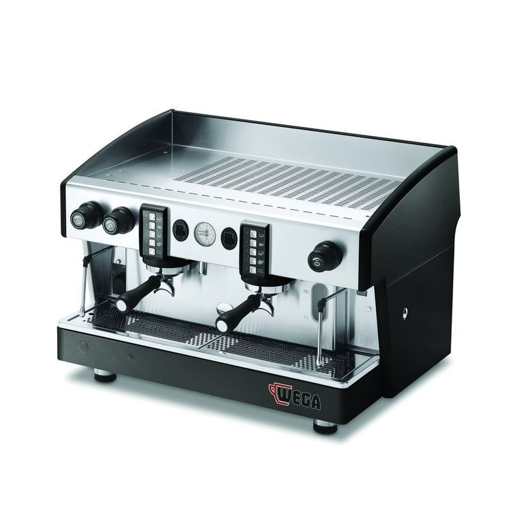 Electronic coffee machine. Four programmable doses per group, with manual brewing button. Two chromed steam wands (single on 1 group model) – one manual hot water tap. Water auto-fill, built in rotary pump.