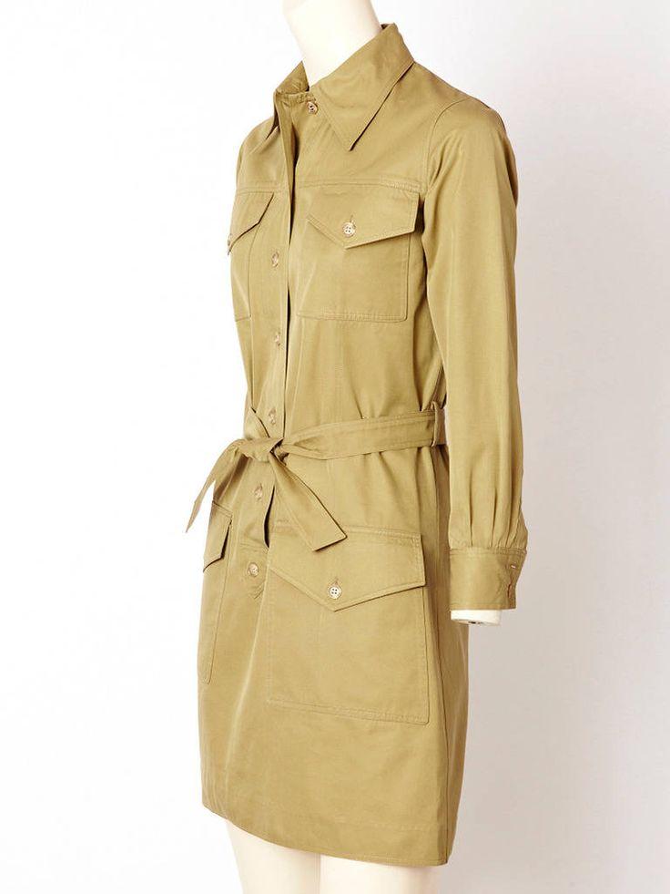 1970's Yves Saint Laurent Safari style khaki tunic mini dress